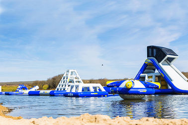 Wake Island Inflatable Water Park Durable Blue Inflatable Aqua Park For Sea